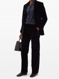 OFFICINE GÉNÉRALE Charlene cotton-velvet suit jacket in navy