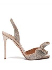 AQUAZZURA Cherry 105 crystal-embellished satin sandals / sparkling crystals / glamorous event shoes / stiletto heel slingbacks