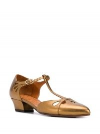 Chie Mihara t-bar mary-jane sandals in bronze – vintage style cut out shoes