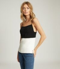 REISS CHLOE COLOUR BLOCK CAMI BLACK/WHITE ~ colourblock camisole