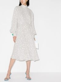 Christopher Kane gathered polka-dot midi dress in white / high neck dresses