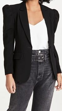 Cinq a Sept Suki Blazer | black puff sleeve blazers