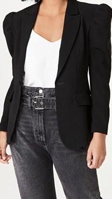 Cinq a Sept Suki Blazer | black puff sleeve blazers - flipped