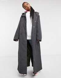 COLLUSION wadded belted trench in charcoal | maxi waist tie coats
