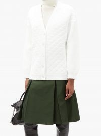 FENDI Contrast-sleeve quilted cardigan in white ~ double textured cardigans