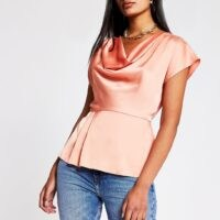 RIVER ISLAND Coral Ss Cowl Neck Top – short sleeve satin look tops