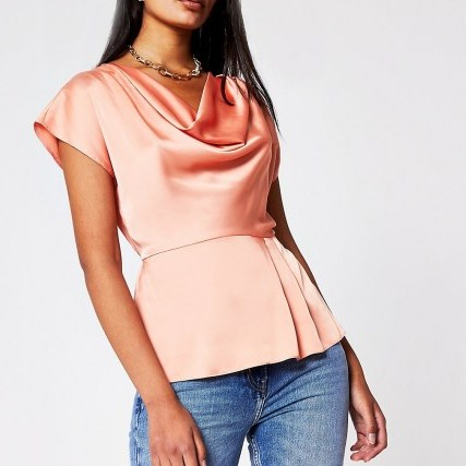 RIVER ISLAND Coral Ss Cowl Neck Top – short sleeve satin look tops - flipped