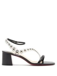 CHRISTIAN LOUBOUTIN Corinne 55 PVC-strap leather sandals ~ block heel ankle strap sandal ~ stud embellished shoes