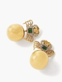 BEGUM KHAN Crab 24kt gold-plated clip earrings / spherical drops / ocean inspired jewellery