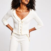 River Island Cream Frill Pearl Button Cardigan | loungewear knitwear | ribbed cardigans