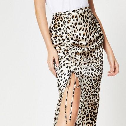 RIVER ISLAND Cream leopard print ruched midi skirt / wild animal prints / split skirts - flipped