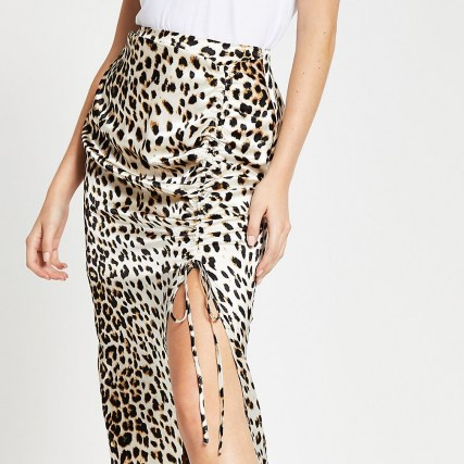 RIVER ISLAND Cream leopard print ruched midi skirt / wild animal prints / split skirts