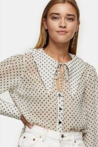 TOPSHOP Cream Oversized Spot Collar Blouse – wide pointed collars – shirts – blouses