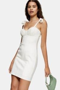 Topshop Cream Poplin Tie Bodycon Mini Dress | bust detail dresses | going out fashion