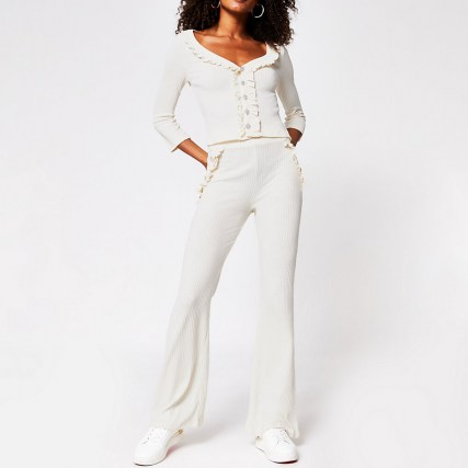 River Island Cream rib pearl button flare | loungewear trousers | casual wear flares | ribbed knitwear - flipped