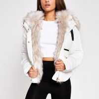 RIVER ISLAND Cream short faux fur puffer jacket / hooded jackets / autumn outerwear / winter padded coats