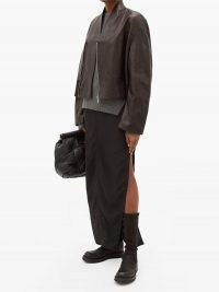 RICK OWENS Cropped-hem asymmetric leather bomber jacket in black | designer casual jackets