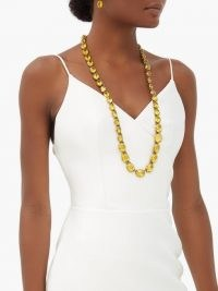 GUCCI Yellow crystal-embellished necklace ~ longline necklaces ~ chunky coloured crystals ~ glamour ~ glamorous jewellery