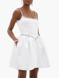 CHRISTOPHER KANE Cupcake crystal-embellished white satin mini dress ~ structured clothing ~ fitted bodice with voluminous skirt
