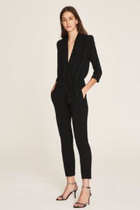 ba&sh Cycy jumpsuit Black ~ chic evening wear ~ tie waist jumpsuits ~ party clothing