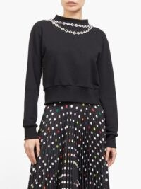 CHRISTOPHER KANE Daisy chain-embellished top in black / necklace style tops / jewellery attached clothing