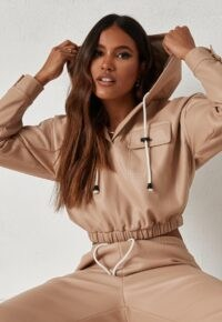 dani michelle x missguided stone faux leather cropped hoodie ~ luxe look hoodies ~ casual sporty fashion
