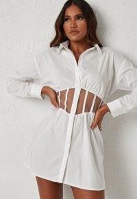 dani michelle x missguided white mesh insert corset mini dress | waist detail shirt dresses