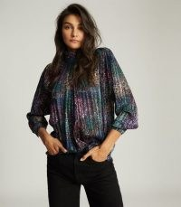REISS DARCEY METALLIC HIGH NECK BLOUSE BLACK ~ multicoloured blouses