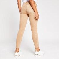 RIVER ISLAND Dark beige Amelie mid rise skinny jean ~ light camel skinnies