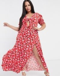 Dark Pink Plus thigh split maxi dress with puff sleeve in red rose print – ASOS does it again with a stylish dress that is perfect for hot weather and the summer months