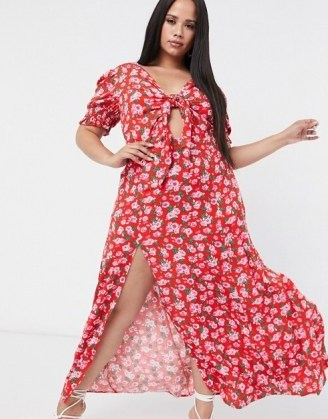 Dark Pink Plus thigh split maxi dress with puff sleeve in red rose print – ASOS does it again with a stylish dress that is perfect for hot weather and the summer months - flipped