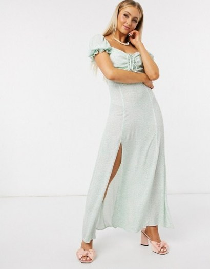 Dark Pink puff frill sleeve midaxi dress with thigh split in mint leopard | light green floaty summer party dresses - flipped