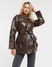 ASOS DESIGN croc four pocket belted jacket in dark brown ~ mock crocodile embossed jackets