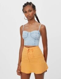 Bershka Denim corset top Blue | skinny strap fitted tops | bustier style fashion