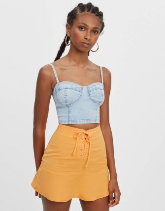 Bershka Denim corset top Blue | skinny strap fitted tops | bustier style fashion - flipped