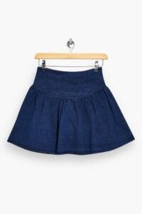 Topshop Denim Gathered Mini Skirt