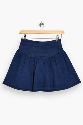 Topshop Denim Gathered Mini Skirt