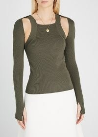 DION LEE Hybrid olive layered wool-blend tank ~ green ribbed co-ords