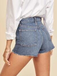 Reformation Dixie High Rise Jean Short Iskar / blue denim raw hem shorts