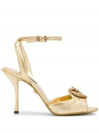 Dolce & Gabbana metallic strappy leather sandals ~ gold quilt effect sandal ~ ankle strap high heels ~ event footwear ~ glamorous evening shoes