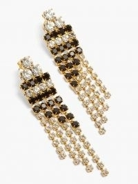 ROSANTICA Domino crystal-embellished drop earrings / monochrome fringed drops / glamorous evening jewellery / deco accessory