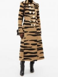 PACO RABANNE Double-breasted tiger-striped wool-blend coat – winter glamour – glamorous animal print coats