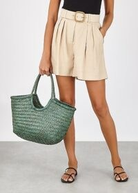 DRAGON DIFFUSION Nantucket green leather tote / double top handle bags