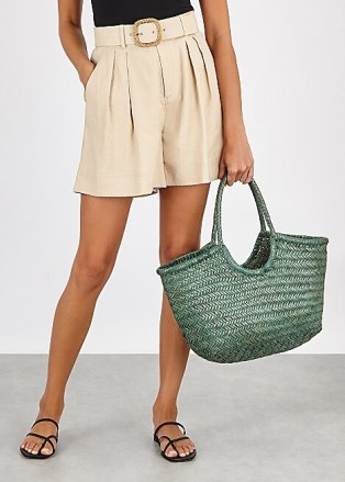DRAGON DIFFUSION Nantucket green leather tote / double top handle bags - flipped
