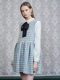 DREAM Weave Away Tweed Smock Dress in Aquamarine, Ivory / houndstooth pinafore dresses / dogtooth checks / preppy pinafores