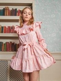 SISTER JANE Indulge Ruffle Mini Dress Cotton Candy ~ pink ruffled high neck dresses