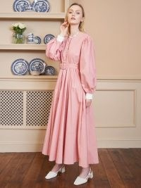 SISTER JANE High Tea Midi Dress with Belt Cotton Candy ~ pink vintage look maxi dresses
