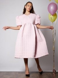 Sister Jane Prep Heart Quilted Midi Dress Cotton Candy | voluminous dresses | fashion with volume | puff sleeve clothing