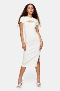 TOPSHOP Ecru Asymmetric Ribbed Midi Dress ~ front cut out bodycon ~ party dresses