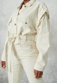 MISSGUIDED ecru co ord raw edge belted cropped denim jacket ~ crop raw hem jackets ~ weekend outerwear ~ casual look